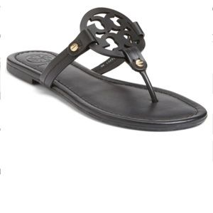 Tory Burch Miller Sandal Black Leather 8.5